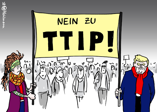 Karikatur Cartoon 2016 color Farbe Global USA Deutschland EU Trump Präsident TTIP Gegner Freihandel Freihandelsabkommen Demo Demonstration Wahl Wahlsieger Wahlsieg Republikaner Transparent Demonstranten Widerstand Europa